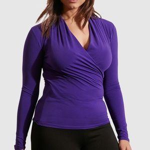 Ralph Lauren Purple Long Sleeve Wrap V-Neck Blouse
